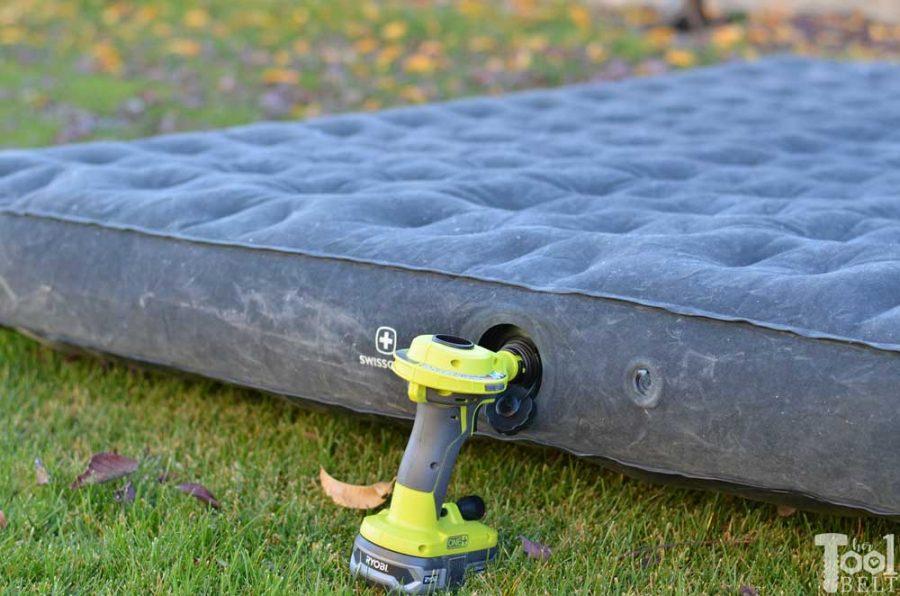 Ryobi high volume inflator tool review. Blow up air mattress - hands free.
