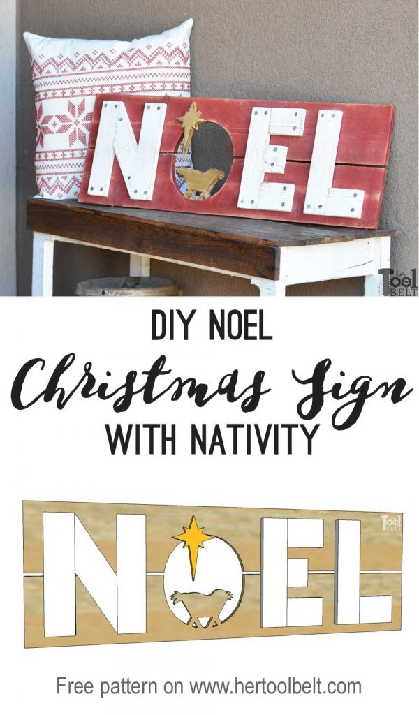 Nativity themed Noel Christmas sign with free pattern.