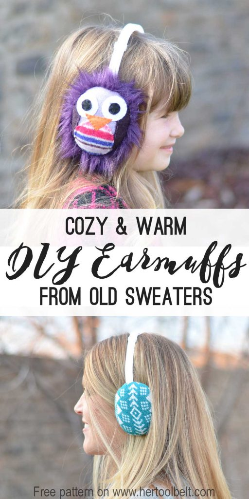 Stay warm and cozy with your own DIY earmuffs made from old sweaters. Free pattern on hertoolbelt.com