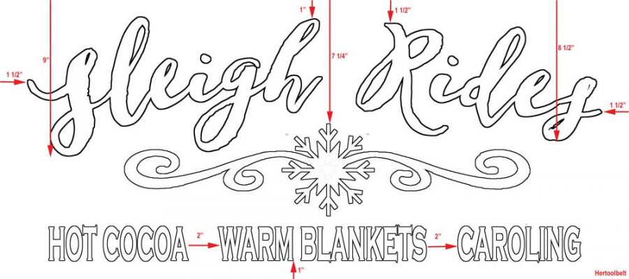 Make a festive Christmas or Winter Sleigh Rides wood sign, perfect for the porch. Free plans and pattern.