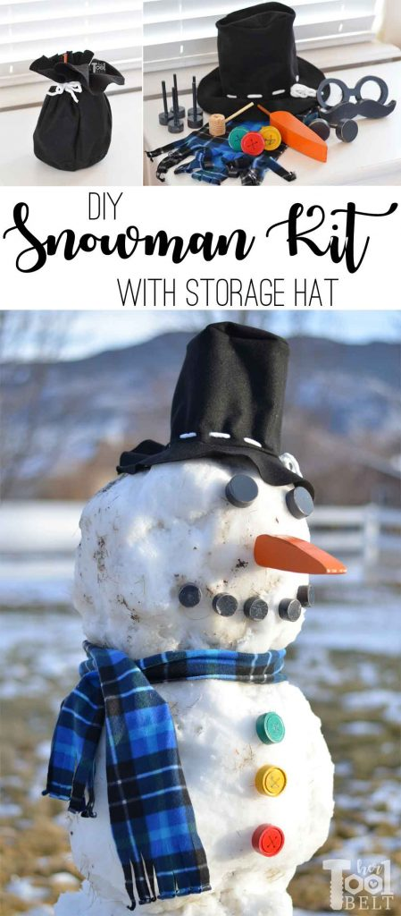 Do you want to build a Snowman? DIY snowman kit made out of wood, fleece and felt with a hat that doubles as the storage bag. Tutorial and free pattern with fun snowman accessories.