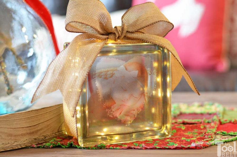 DIY photo gift idea, attach a personalized photo to a glass block.