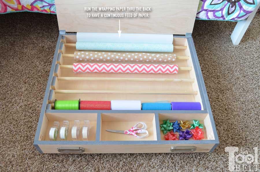 Rolling Gift Wrap Organizer Her Tool Belt