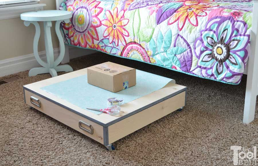 Save your closet space and store all of you wrapping supplies in a handy rolling gift wrap organizer. It easily slides under the bed and has lots of room for storage, plus a large solid top for wrapping. Free building plans!