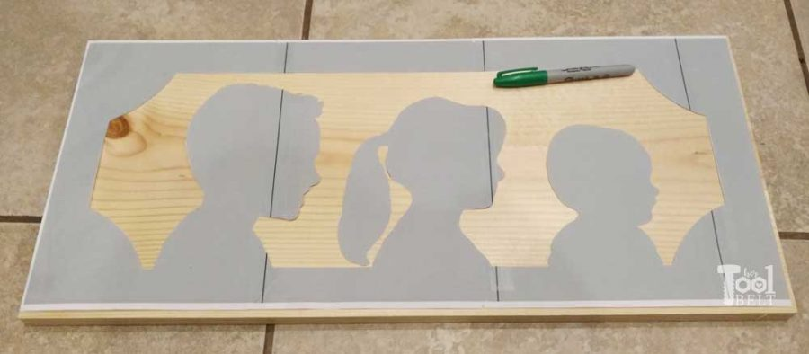 Farmhouse Style DIY silhouette portrait of the kids made out of wood. Take profile pictures of the children and create this unique display.