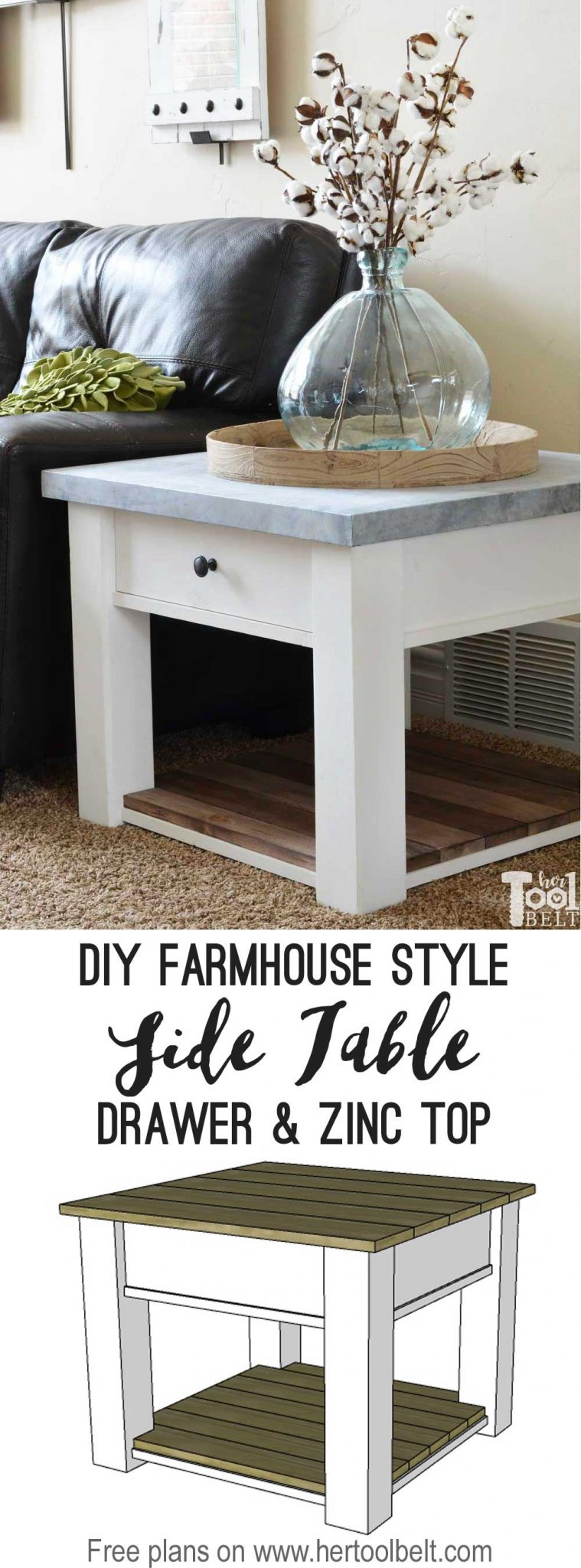 Zinc Top Farmhouse Side Table Her Tool Belt
