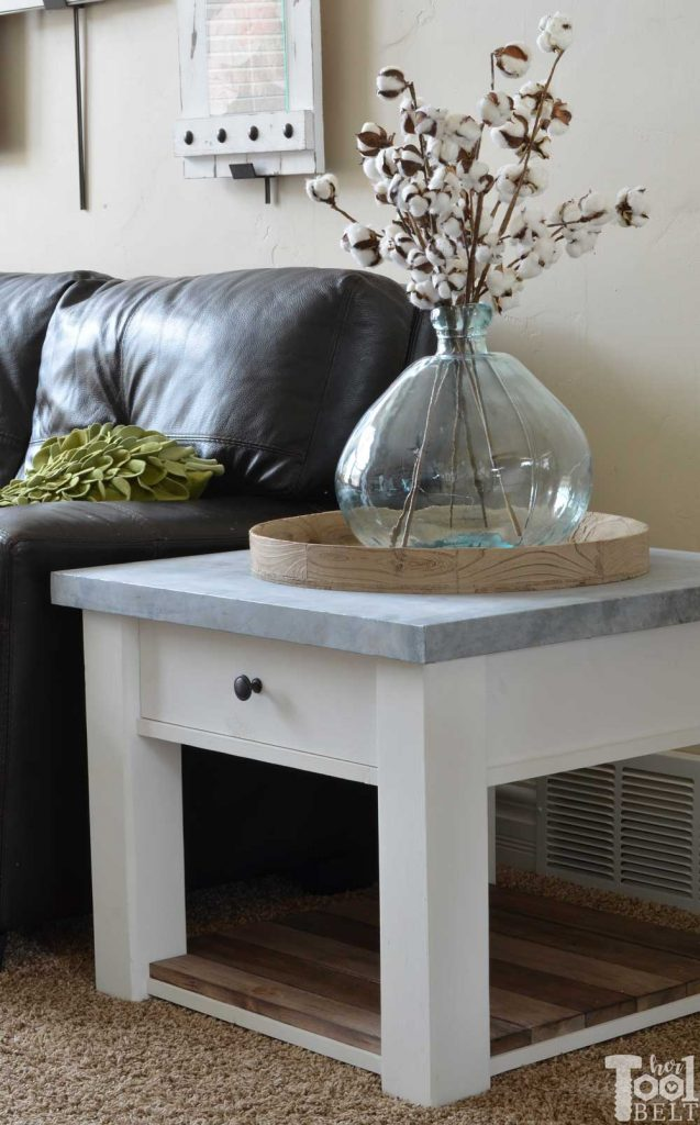 DIY farmhouse side table tutorial and free plans with optional drawer and zinc table top.