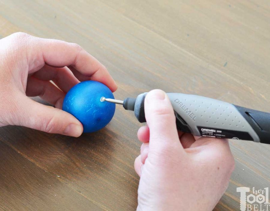 How to hollow out eggs for Easter egg decor. Use a dremel to make holes in the top and bottom.