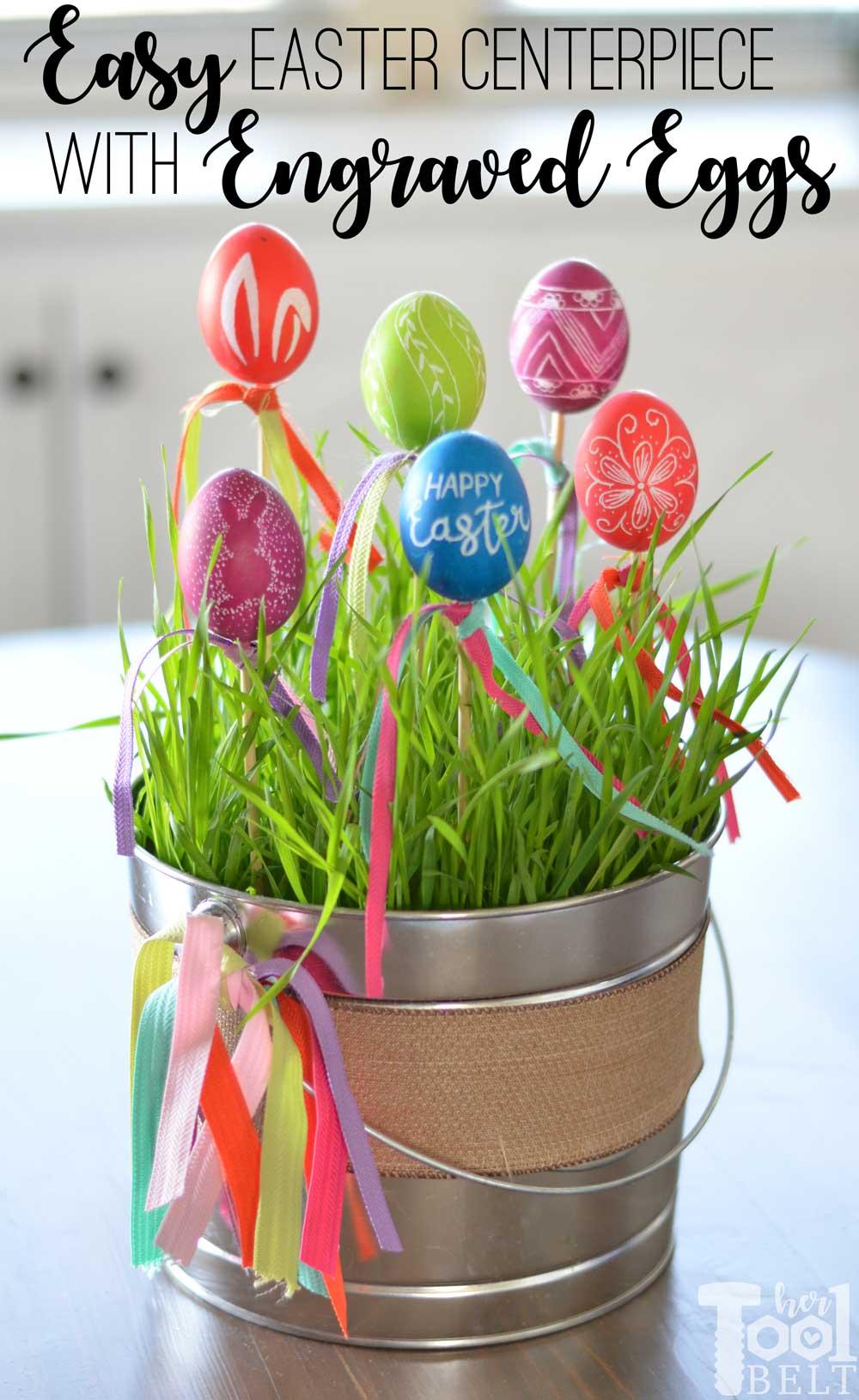 Easter Egg Decor With Engraved Eggs Her Tool Belt
