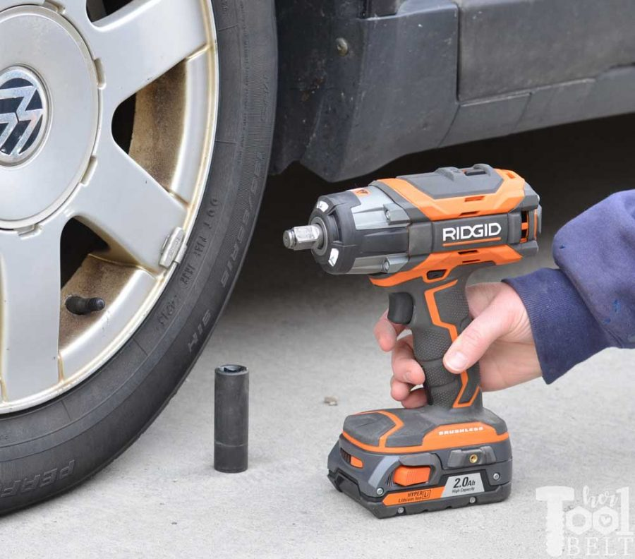 Use the Ridgid impact wrench to make changing a car tire quick and easy.