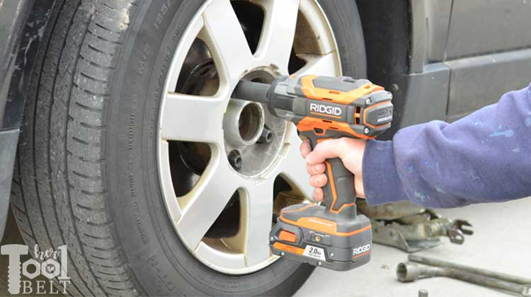 changing  car tire  quick   tool belt
