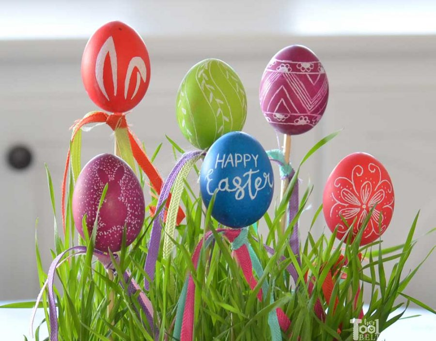 Easter Egg Decor with eggs etched with a Dremel. Happy Easter.