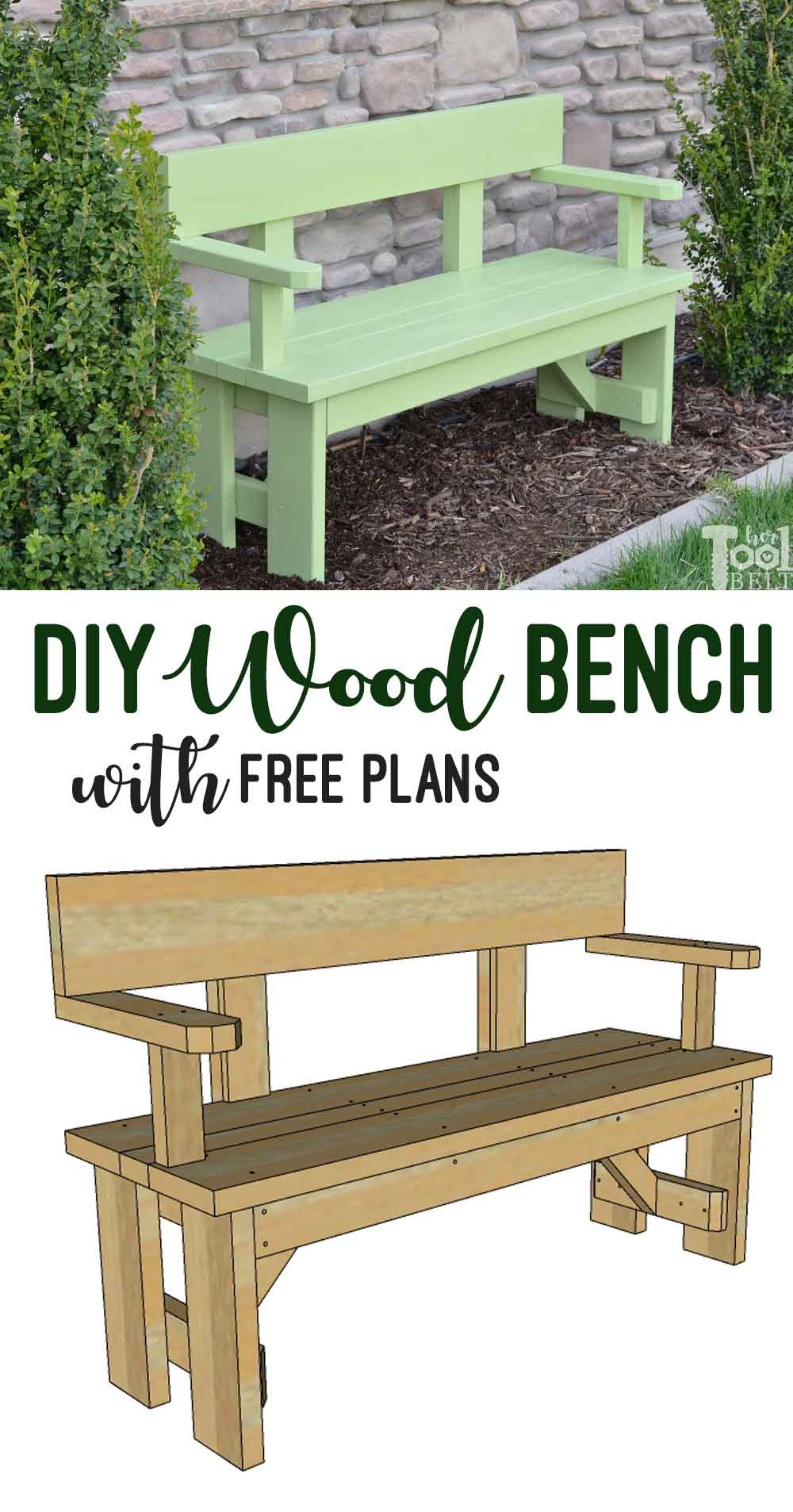 Fabulous Diy Wood Bench With Back Plans Her Tool Belt Gmtry Best Dining Table And Chair Ideas Images Gmtryco