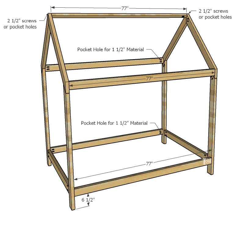 House Frame Bed Full Size Her Tool Belt