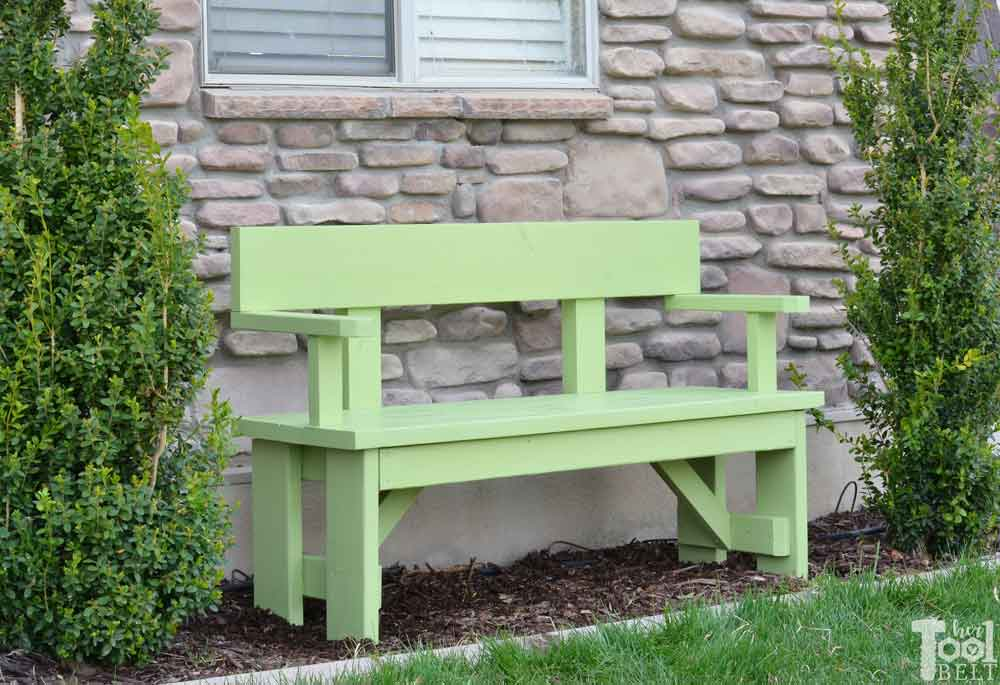 Incredible Diy Wood Bench With Back Plans Her Tool Belt Creativecarmelina Interior Chair Design Creativecarmelinacom