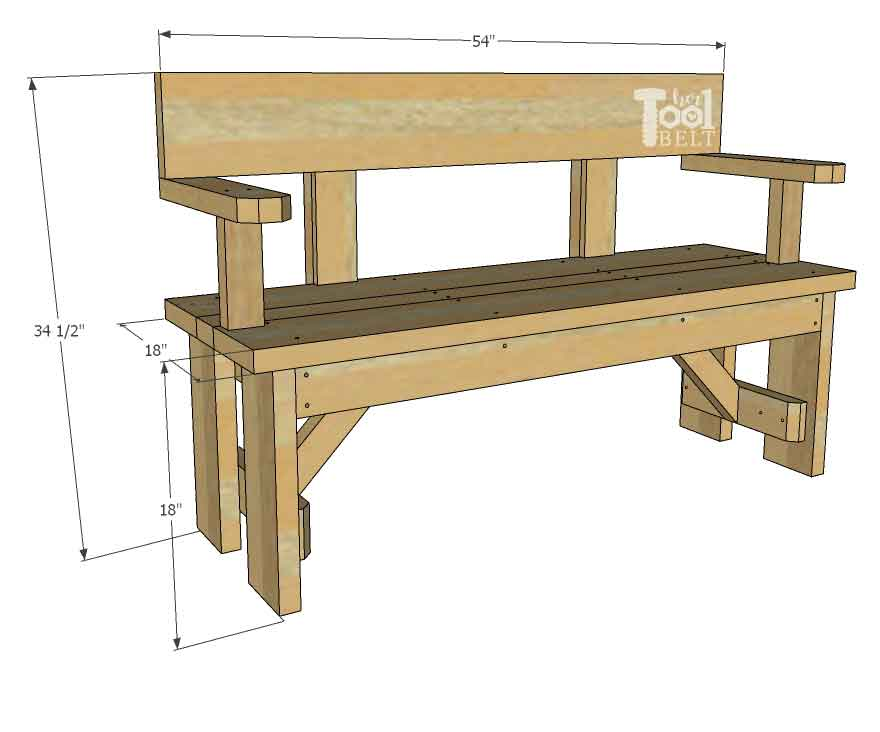 Diy Wood Bench With Back Plans Her Tool Belt