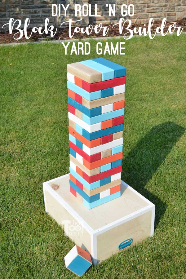Make your own Giant Block Tower Builders yard game with a carrying crate that doubles as a playing stand. Add colored dice for a fun roll 'n go option to mix things up.