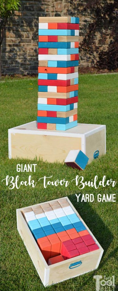 Make your own Giant Block Tower Builders yard game with a carrying crate that doubles as a playing stand. Add colored dice for a fun roll 'n go option to mix things up. Free plans to make yard game.