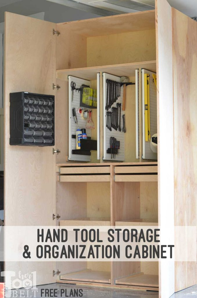 Build a garage cabinet with tons of storage space for your tools, supplies, and equipment. Pull out peg boards and drawers makes it easy to see everything and create a place for everything and have everything in it's place. Hand tool storage cabinet free plans.