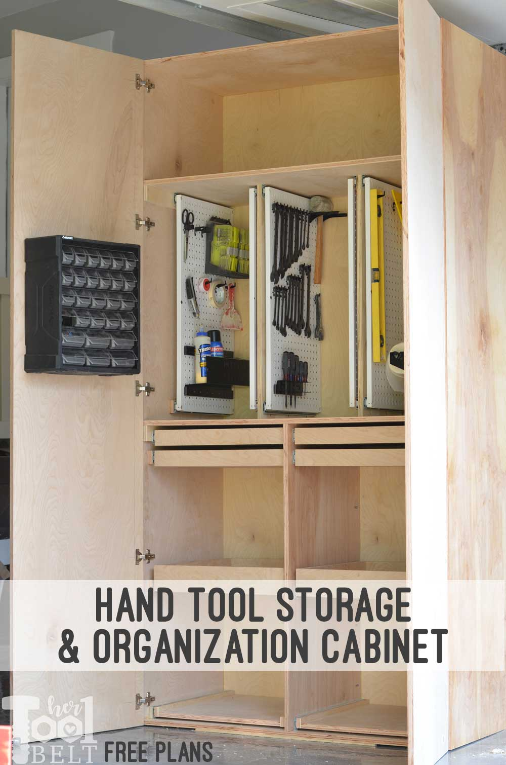 Garage Hand Tool Storage Cabinet Plans - Her Tool Belt on kitchen cabinet drawing plans, homemade open shelf cabinet, basic cabinet plans, homemade kitchen cabinate door plans, simple kitchen cabinet plans, homemade kitchen cabinets ideas, mission wood cabinet plans, build your own kitchen cabinet plans, homemade camp kitchen plans, diy kitchen island plans, kitchen cabinet construction plans, homemade kitchen cabinets how toos, kitchen hutch diy plans, kitchen cabinet woodworking plans, unusual corner kitchen cabinets plans, homemade china cabinets,
