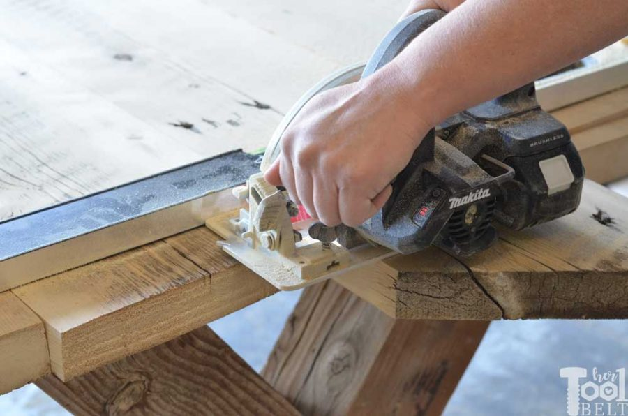 Super Chunky X Table free plans - trim the edges