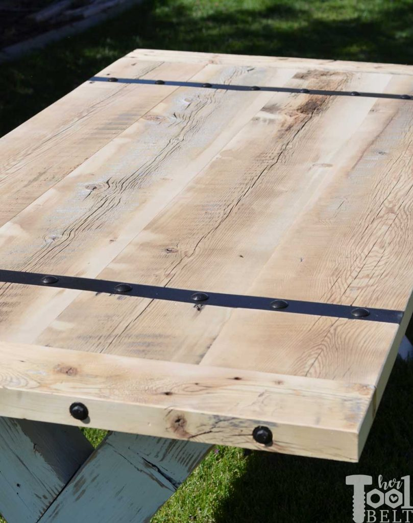 Super Chunky X Table free plans - reclaimed wood table top with metal inlay accents.