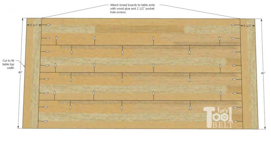 Super Chunky X Table free plans - add bread boards