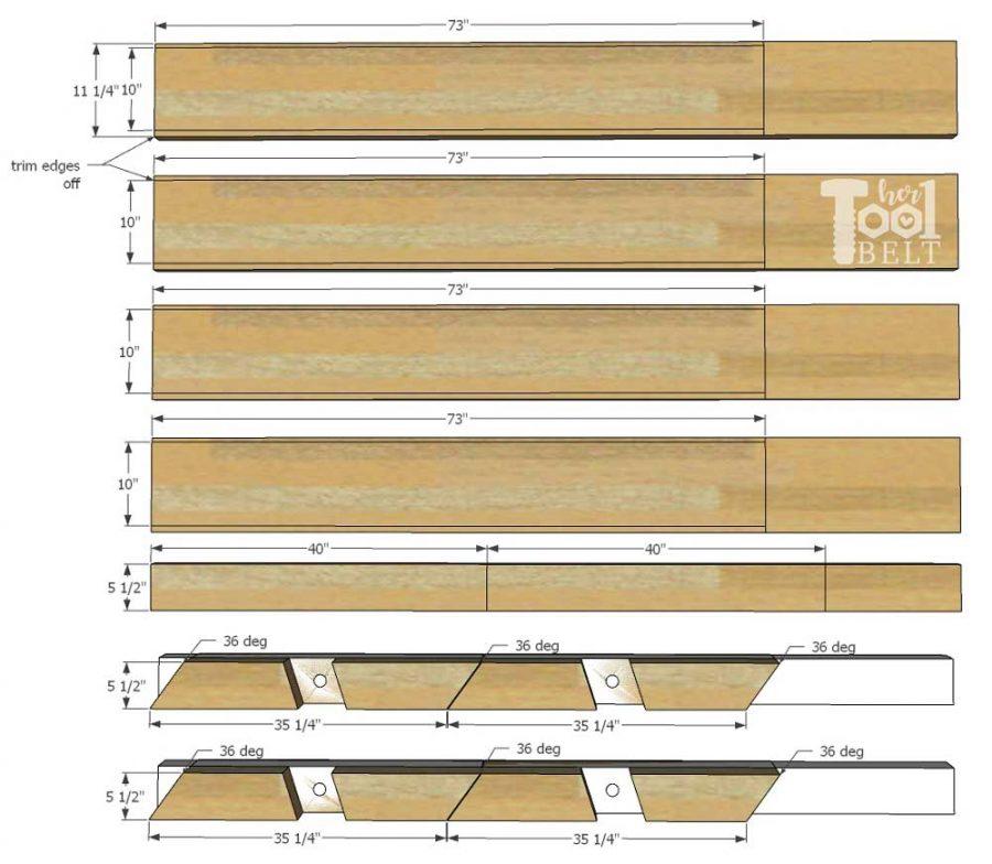 Super Chunky X Table free plans - cut diagram