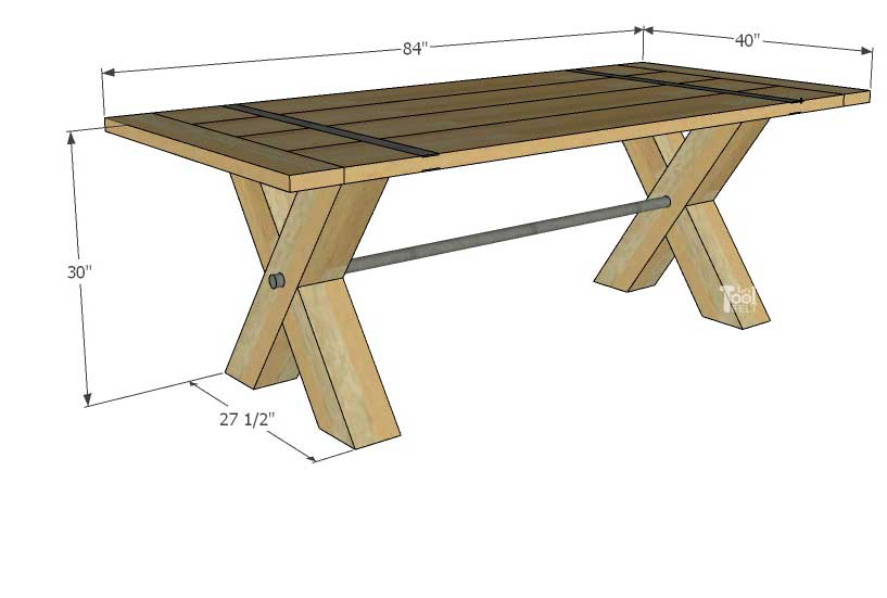 Super Chunky X Table free plans - dimensions
