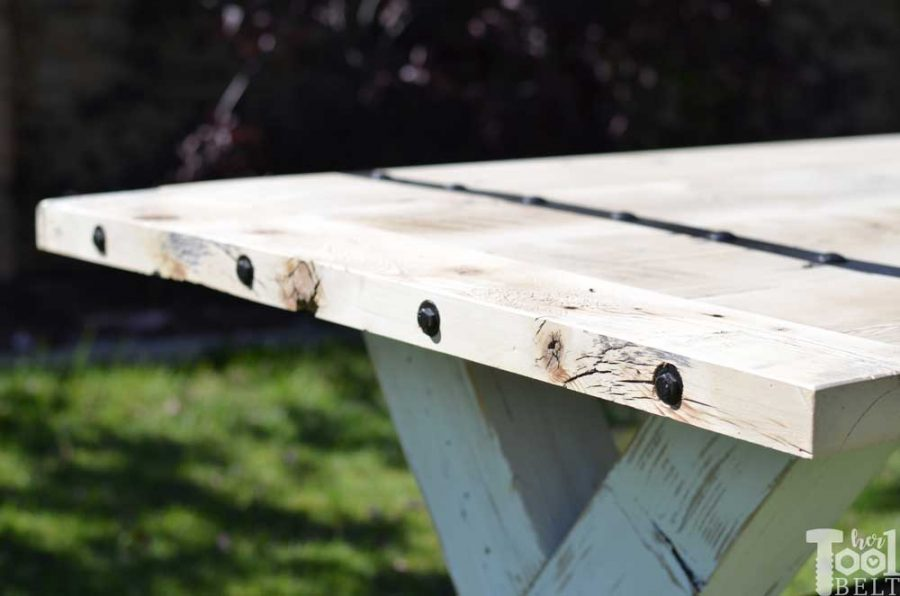 Super Chunky X Table free plans - metal accents on bread board