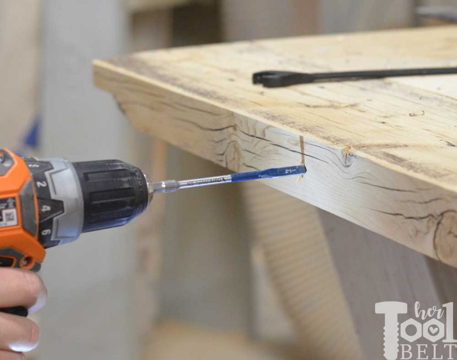 Super Chunky X Table free plans - pilot hole with bosch spade bit