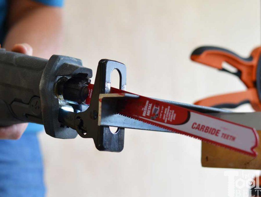 "Cutting 1/8"" steel angle iron with Diablo's Steel Demon carbide recip metal cutting blades."