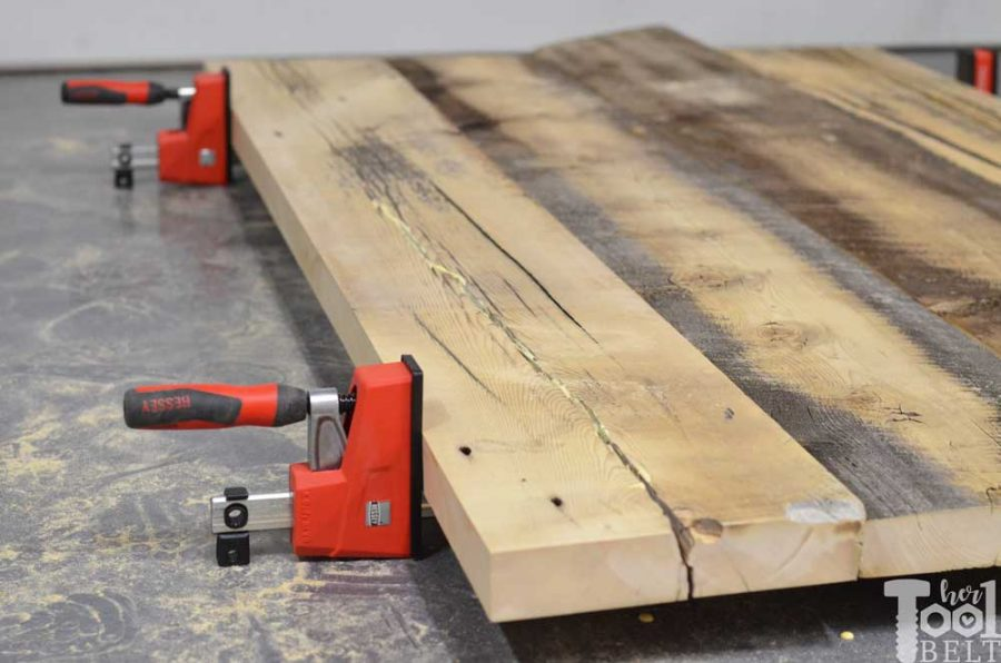 Super Chunky X Table free plans - glue up