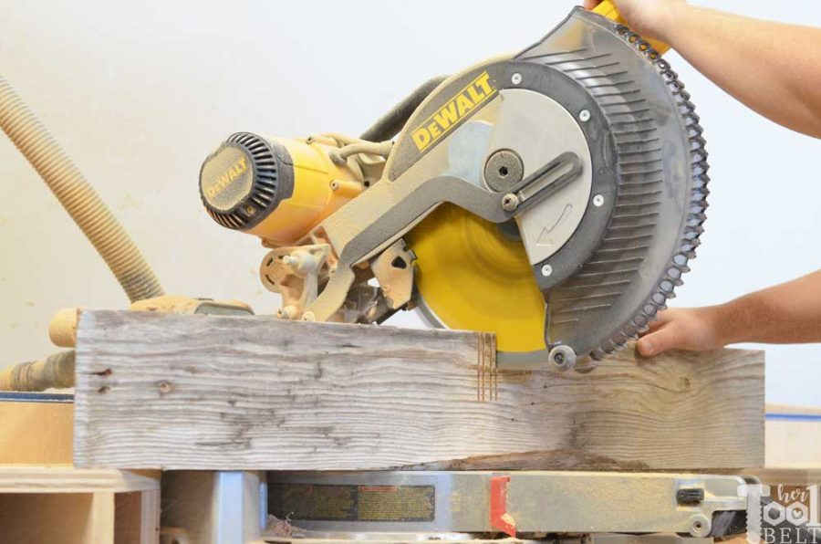 Super Chunky X Table free plans - half lap with miter saw