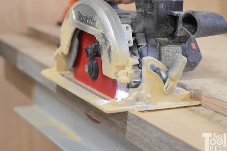 Super Chunky X Table free plans - circular saw to trim edges.