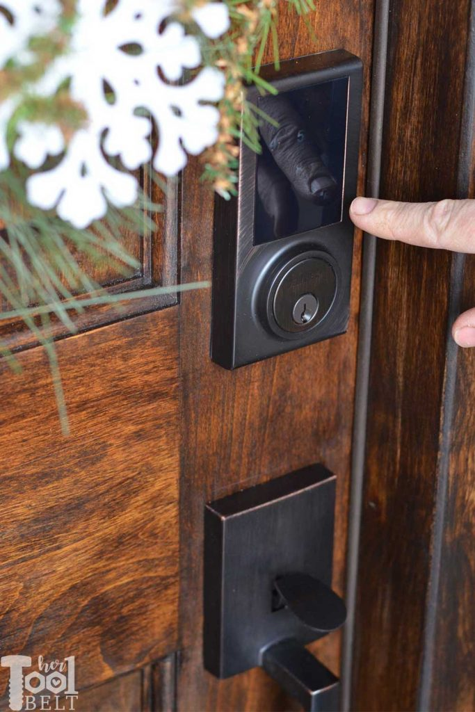 Getting ready for holiday visitors by refreshing the front door and installing a cool touch pad keyless entry lock. See 12 gorgeous door updates with the 12 doors of December @DelaneyHardware #DelaneyHardware #12DoorsofDecember