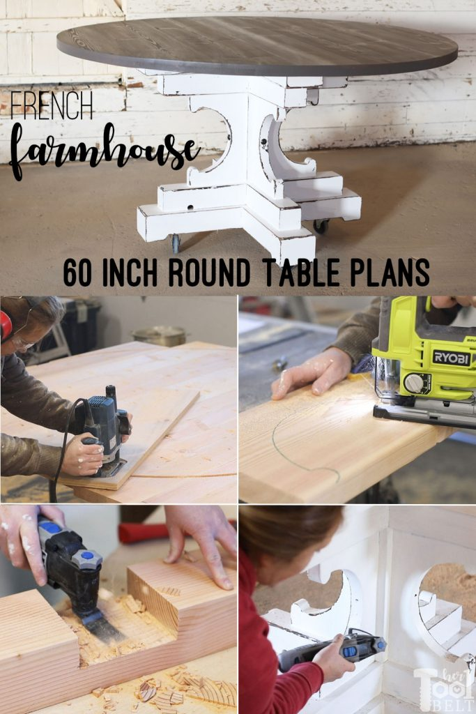DIY french farmhouse style 60 inch round table plans. The lumber for this table runs about $85!