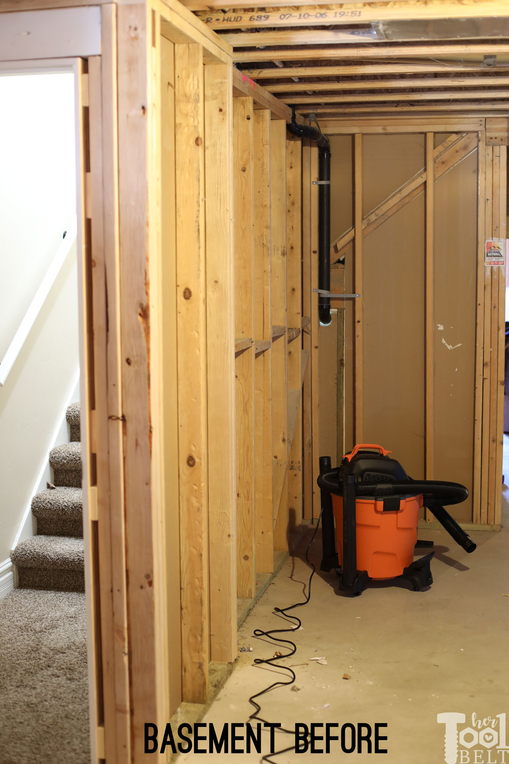 Basement Construction Ideas To Strengthen Your Basement On the far right side, is a little under the stairs cove. On the left side  of the wall is a little pop out from when I had to move the door ...