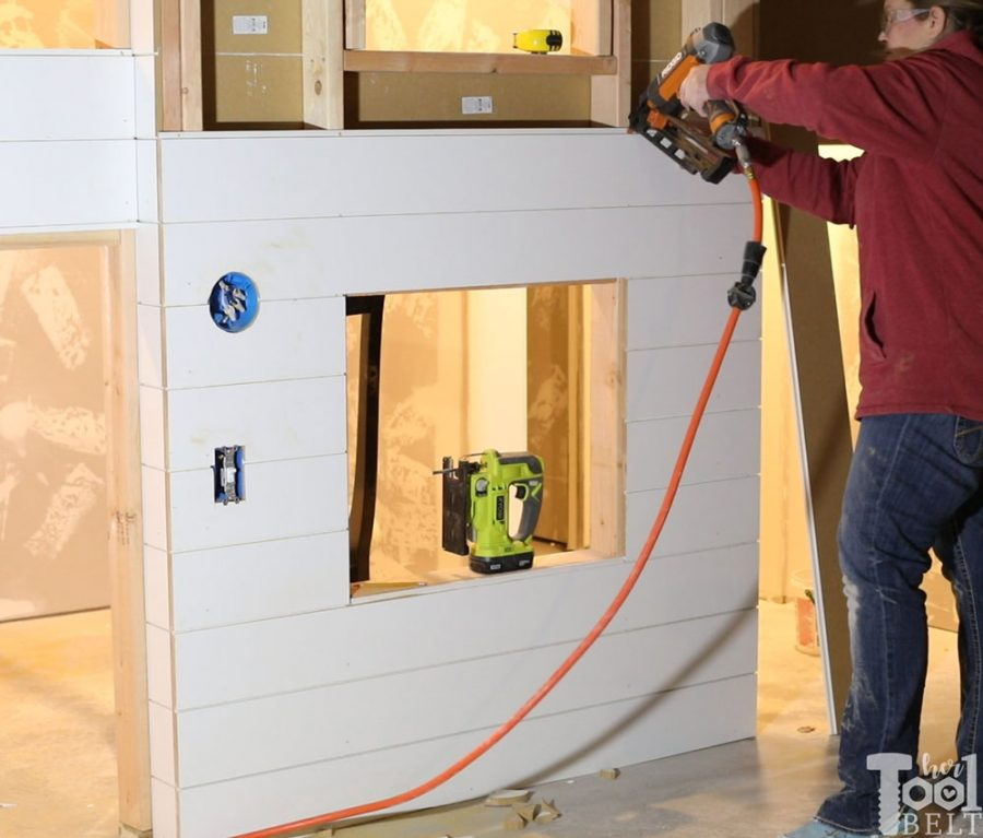 Part 2 of the basement playhouse build is shiplap & sheetrock. Lots of mudding, nailing, sanding and painting. It's really starting to take shape.