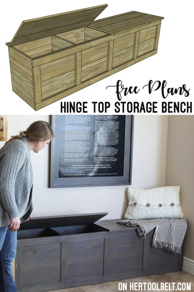 Cute storage bench with hinge top. Great for storing backpacks and supplies. Free build plans on hertoolbelt.