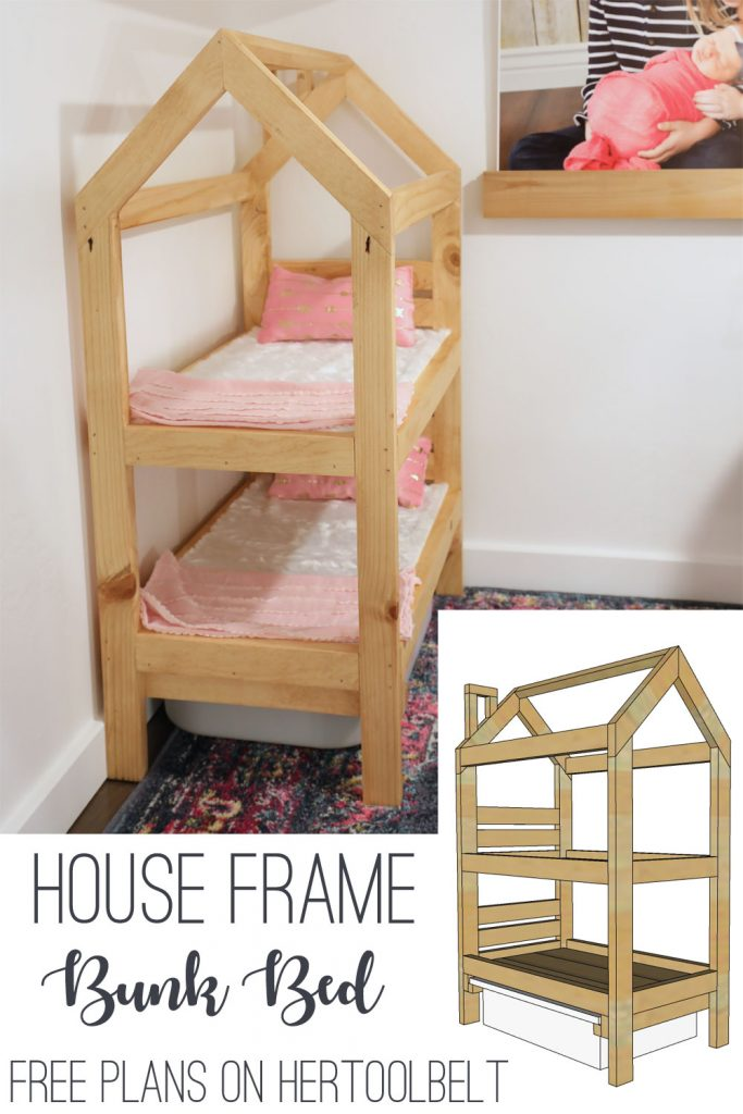 "18"" Doll bunk bed in the shape of a tiny house. Free plans"