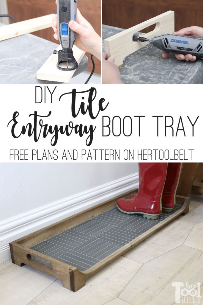 Build a DIY Boot Tray with a tile base for the entryway. It's a simple project that is great for giving guest a place to drop their (wet) boots and shoes. Free plans and pattern on Hertoolbelt.com.
