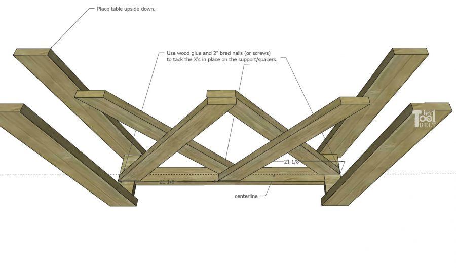 Free plans to build a Double X Console Table. Lumber for this table is about $38!