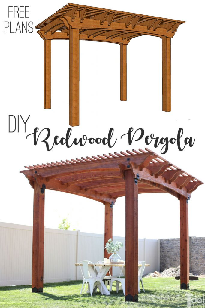 Perfect way to create shade and an outdoor entertaining space. Build a redwood pergola with these free plans and pattern.