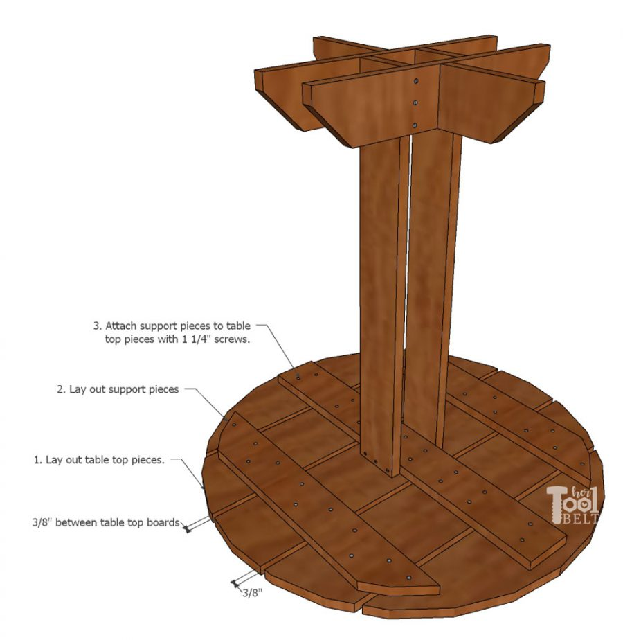Free plans to build a simple round side table for about $20 in wood!