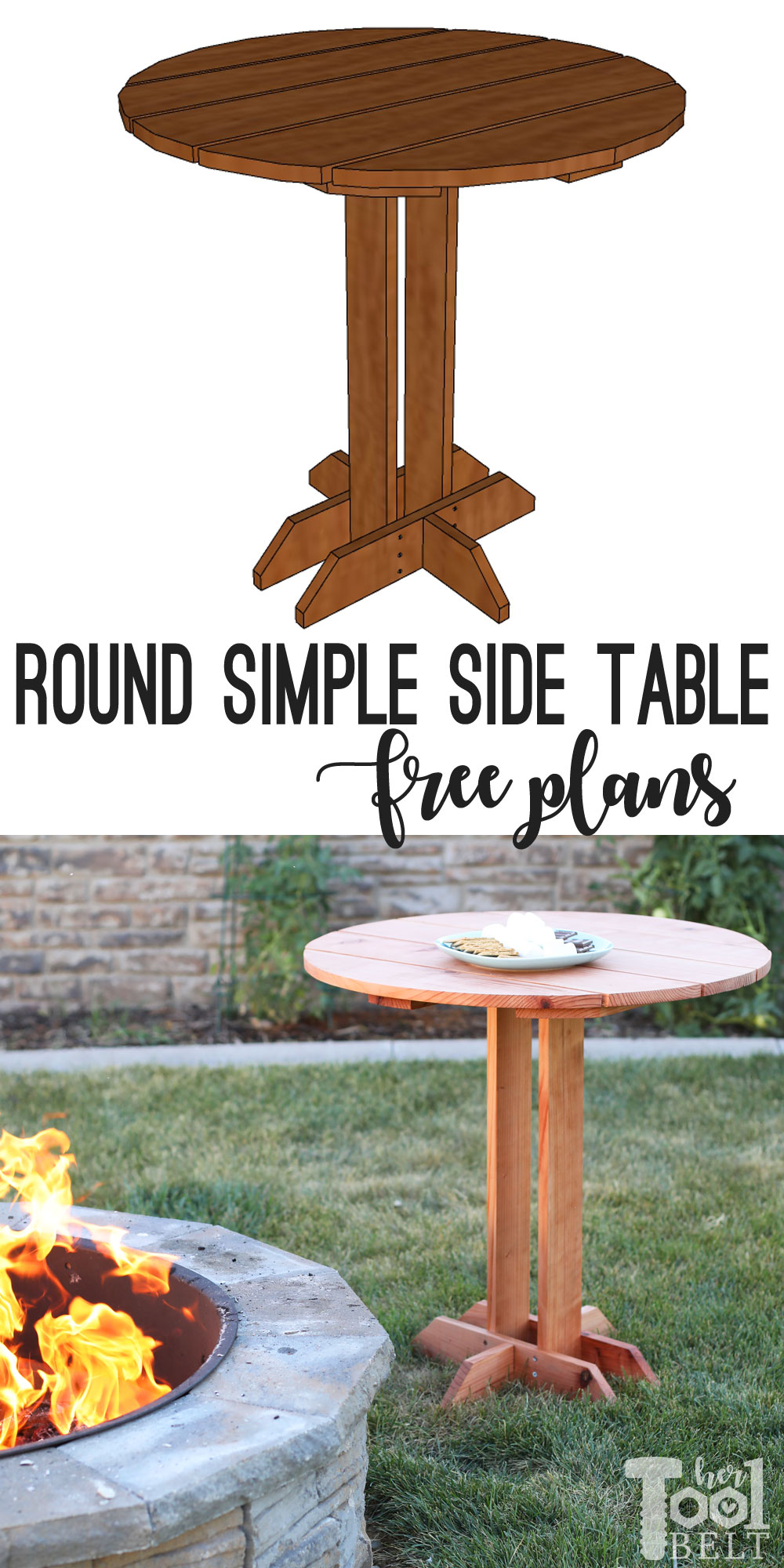 Connie Round Side Table Plans - Her Tool Belt