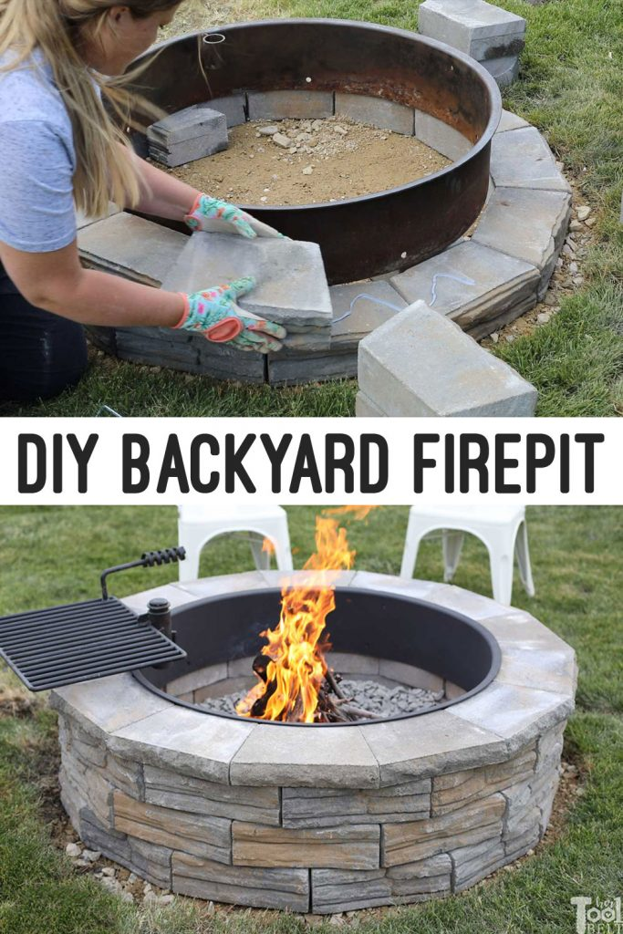 "How to build a DIY backyard firepit with wall blocks from Home Depot. This is a 36"" inside diameter firepit."