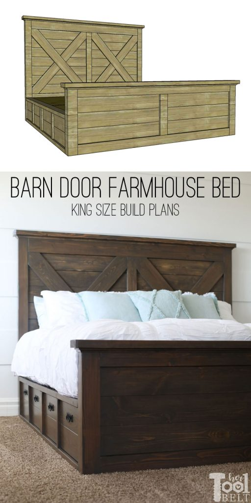 Build a barn door farmhouse bed with X headboard. Free king size bed building plans on hertoolbelt.com.