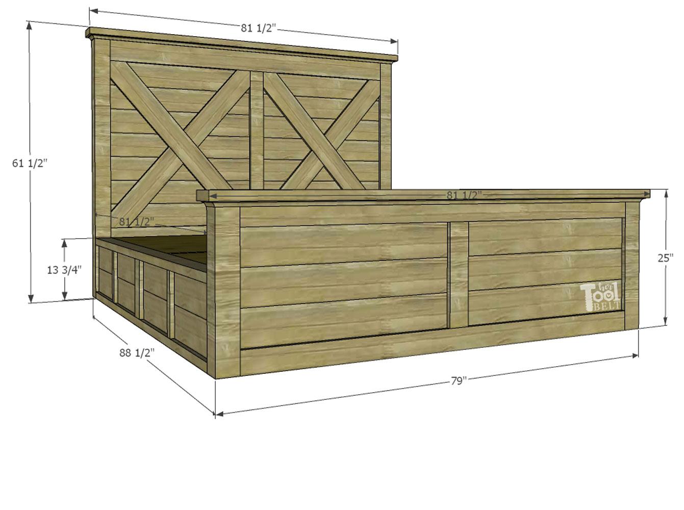 King X Barn Door Farmhouse Bed Plans - Her Tool Belt