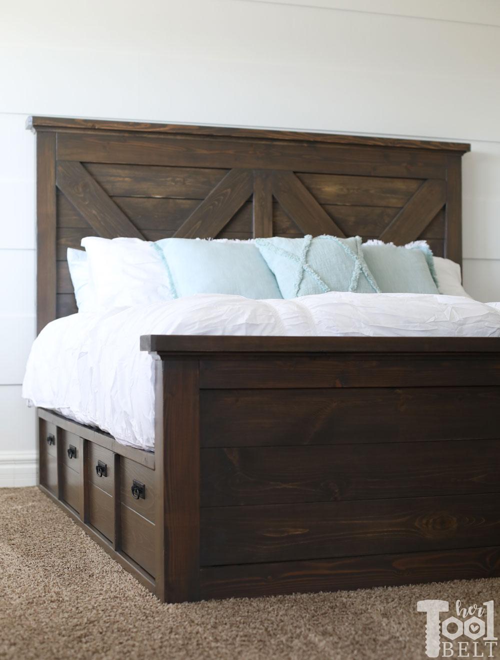 Queen X Barn Door Farmhouse Bed Plan Her Tool Belt